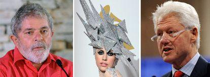 El presidente de Brasil, Luiz Inácio Lula da Silva, la cantante Lady Gaga y el ex presidente de EE UU Bill Clinton.