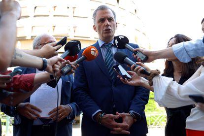 El secretario general de Vox, Javier Ortega Smith, en una comparecencia ante el Tribunal Constitucional.