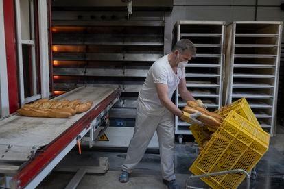 Raúl Jiménez, panadero de Pan Almajano, coloca los panes después de salir del horno.