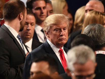 Donald Trump al finalizar el debate.