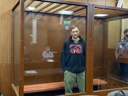 Oleg Navalni, hermano del líder opositor ruso, Alexéi Navalni, en un tribunal de Moscú este viernes.