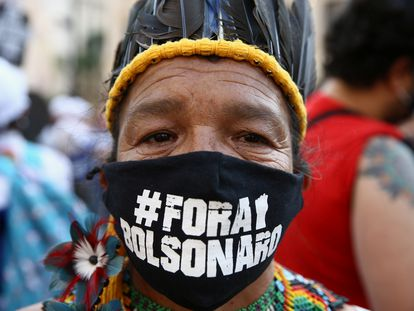 Protesta contra Bolsonaro, el martes 7 de septiembre, en São Paulo.