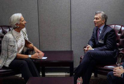 La directora gerente del FMI, Christine Lagarde, recibe el martes en Nueva York al presidente de Argentina, Mauricio Macri.