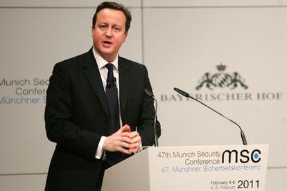 Cameron, durante su intervención hoy en Munich en la Conferencia sobre Seguridad.