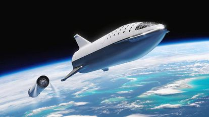 Recreación del momento en el que la BFR se despega de los propulsores.