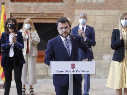 El presidente catalán, Pere Aragonès, durante el acto de conmemoración del 1-O en Barcelona, este viernes.