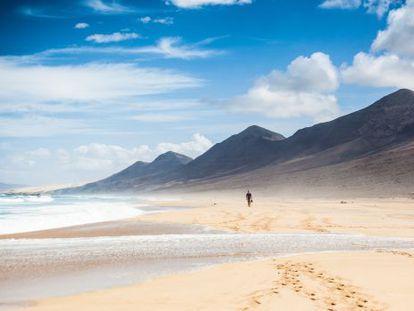 La soledad impregna la playa de Cofete, en Fuerteventura, de 12 kilómetros de recorrido.