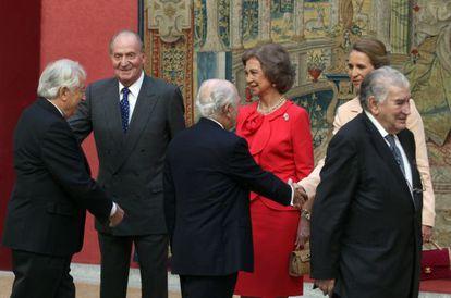 Reunión anual del patronato del Instituto Cervantes, que hoy ha presidido el rey junto a doña Sofía y la infanta Elena en el Palacio de El Pardo.