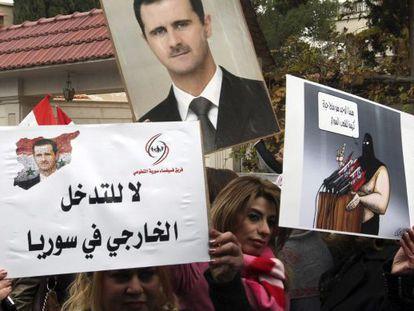 Una protesta de hace dos semanas en Damasco, frente a las oficinas de la ONU en esa ciudad, a favor del régimen de El Asad.