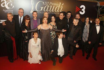 Parte del equipo de la película <i>Pa Negre</i> la gran triunfadora de los premios del cine catalán.