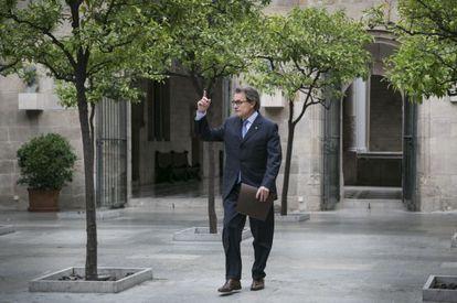 Artur Mas, ayer antes de la reunión de su Gobierno.