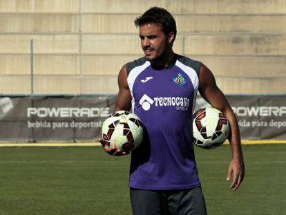 Pedro León, en un entrenamiento del Getafe.