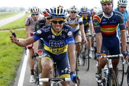 Alberto Contador, durante la primera etapa de la carrera ciclista Eneco Tour