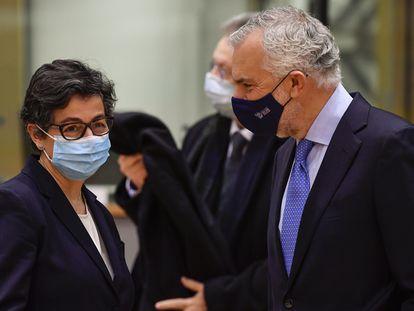 La ministra de Exteriores, Arancha González Laya, en Bruselas este lunes.