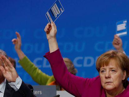 La canciller alemana, Angela Merkel, este lunes en Berlín.