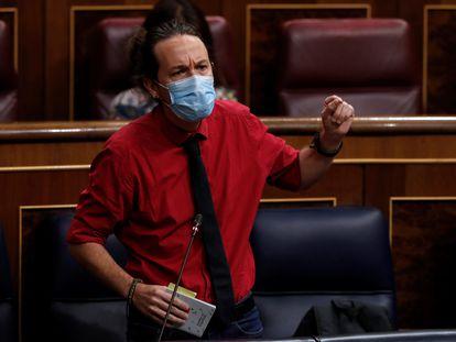 El vicepresidente segundo, Pablo Iglesias, en la sesión de control al Ejecutivo este miércoles en el Congreso.