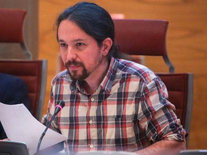 Pablo Iglesias, secretario general de Podemos, en el Senado.
