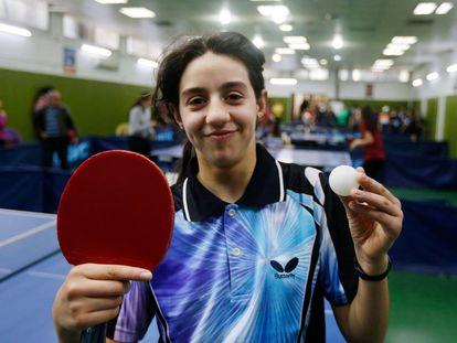 La siria Hend Zaza de 12 años la más joven en competir en unos Juegos Olímpicos, en una competición de tenis de mesa en Damasco (Siria) el pasado 13 de marzo de 2020.