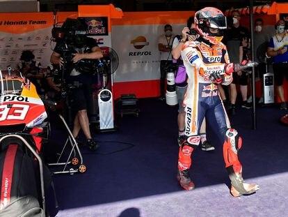 Marc Márquez, durante la tercera sesión del fin de semana en el circuito de Jerez.