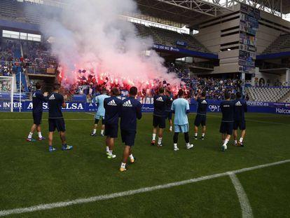 Entrenamiento del Oviedo previo al derbi.