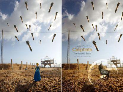 Fotografía de Brian McCarty (izda.) pirateada por el ISIS (dcha.).