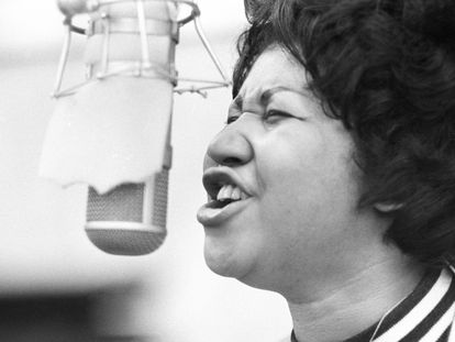 Aretha Franklin en los estudios Atlantic Records de Nueva York en enero de 1969.