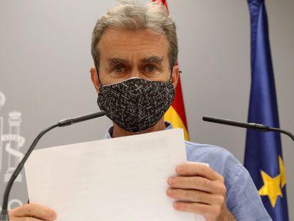 El director del Centro de Coordinación de Alertas y Emergencias Sanitarias, Fernando Simón, informa de los últimos datos de la pandemia de coronavirus en España en una pasada comparecencia.