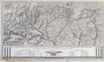 Mapa del Canal de Guadarrama, fechado en 1786