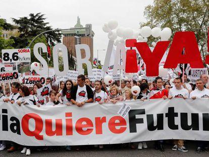 """La plataforma Soria ¡Ya! durante una manifestación de la """"España vaciada"""", en marzo de 2019 en Madrid."""