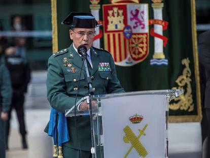 El coronel Diego Pérez de los Cobos durante el acto de toma de posesión como nuevo jefe de la Comandancia de la Guardia Civil de Madrid, en 2018.