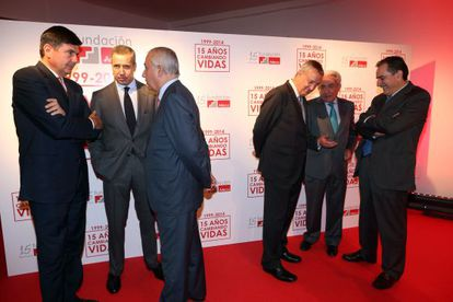 Los seis exministros de Trabajo en el XV aniversario de la Fundación Adecco