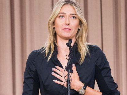 Maria Sharapova, durante la rueda de prensa en la que anunció el positivo.