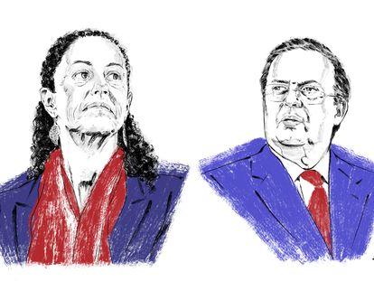 Ilustración de Claudia Sheinbaum y Marcelo Ebrard.