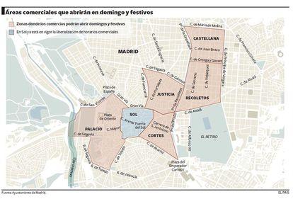 Áreas comerciales de la capital que abrirán en domingo y festivos.