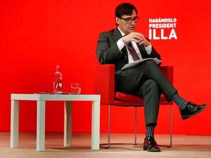 El candidato del PSC a la Generalitat, Salvador Illa, durante un acto electoral, este jueves en Barcelona.