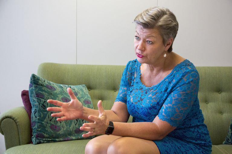 La comisaria de Interior, Ylva Johansson, durante una entrevista el pasado febrero.