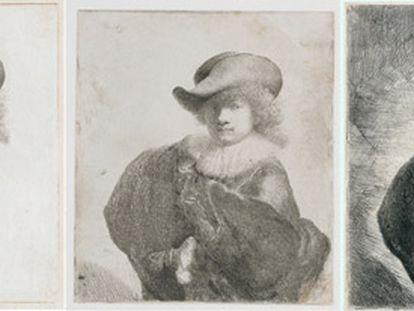 Tres momentos del proceso de grabado de 'Autorretrato con sombrero de ala ancha y abrigo bordado', de 1631, uno de los 315 modelos creados por Rembrandt.