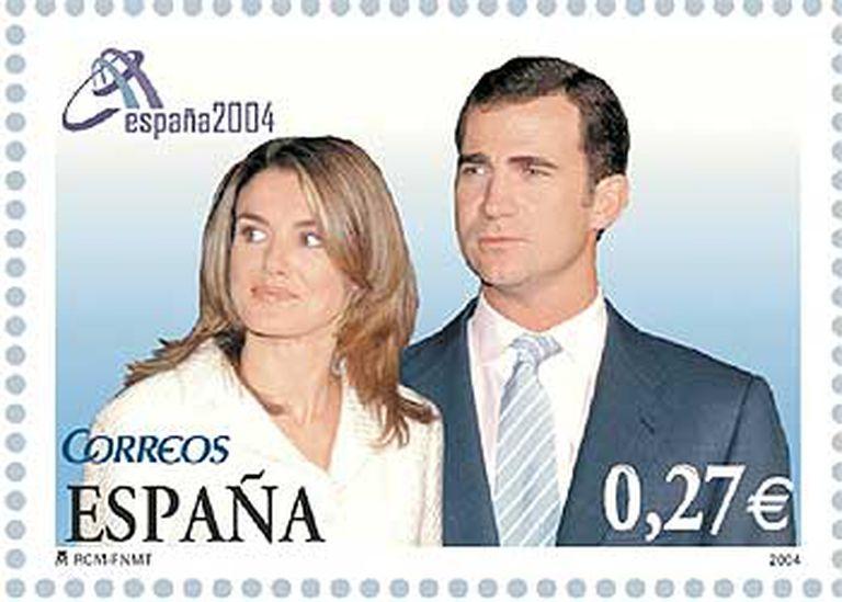 Sello que emitirá Correos el 24 de mayo con motivo de la boda del príncipe Felipe y Letizia Ortiz.