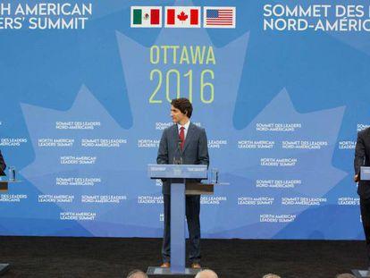 Los mandatarios, de México, Enrique Peña Nieto; de Canadá, Justin Trudeau, y Estados Unidos, Barack Obama, la Cumbre de Líderes de América del Norte 2016.