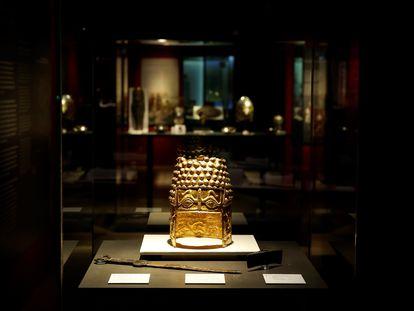 Vista de una de las obras que forman parte de la exposición 'Tesoros de Rumanía' en el Museo Arqueológico Nacional de Madrid.