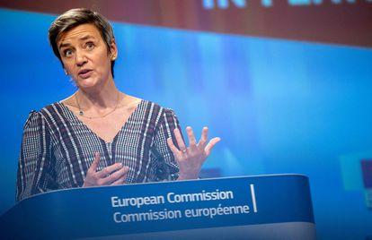 La presidenta de la Comisión Europea, Margrethe Vestager, en una rueda de prensa en Bruselas recientemente.