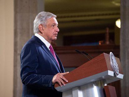 López Obrador, este lunes en el Palacio Nacional.