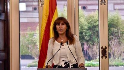 La presidenta del Parlament, Laura Borràs, en una comparecencia en el Parlament de Cataluña.