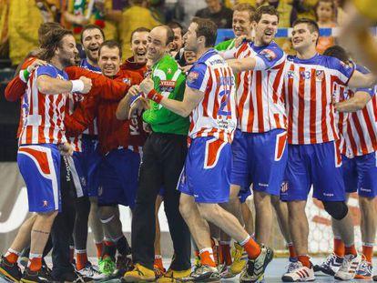 Los jugadores del Atlético, el pasado curso en la Champions.
