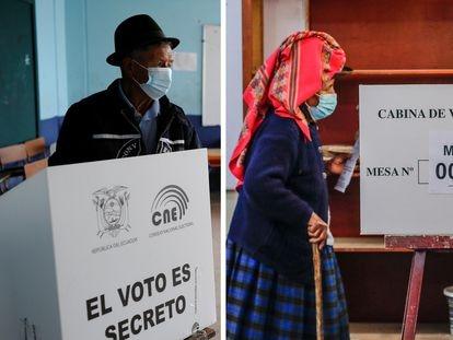 Un par de votantes en Ecuador y en Perú, este domingo durante las elecciones.