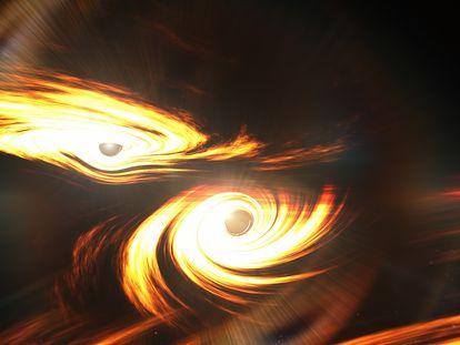 Representación de dos agujeros negros antes de chocar y fusionarse.