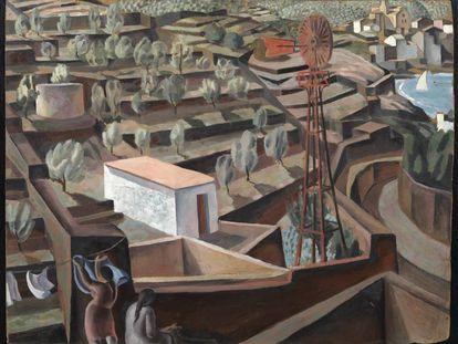 Fragmento de la obra 'El molino. Paisaje de Cadaqués', de Dalí.