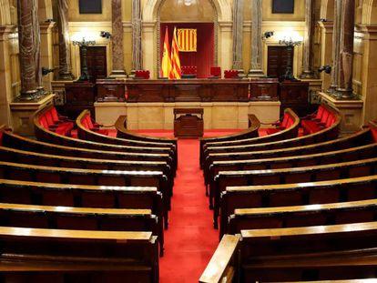 Vista del hemiciclo del Parlament catalán a finales de diciembre.