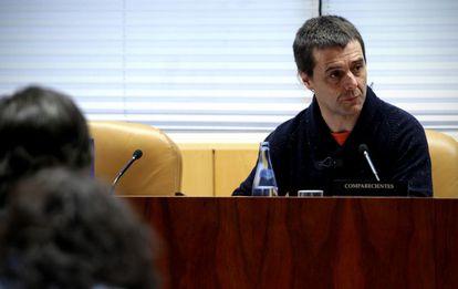 Luis Lombardo, presidente del Comite de Empresa de Telemadrid durante la comisión.