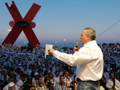 Manlio Fabio Beltrones, en Ciudad Juárez, el 28 de mayo.